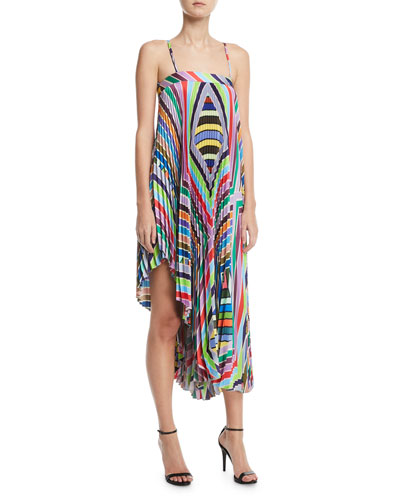 Irene Rainbow Striped Twill Pleated Dress