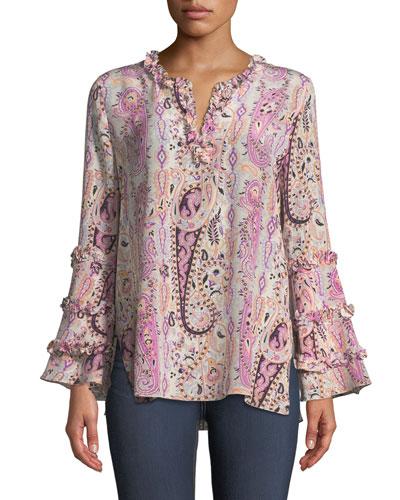 Celia Long-Sleeve Paisley Silk Blouse