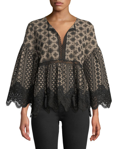 Cassandra Lace-Trim Blouse