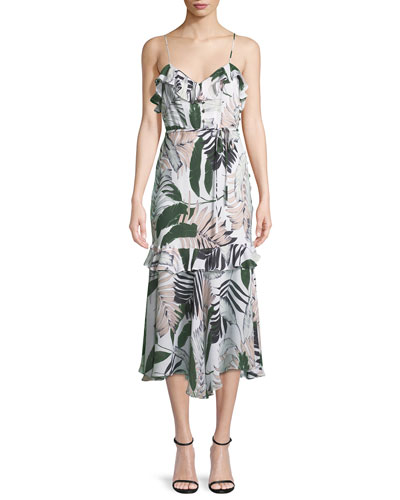 Tropic-Print Sleeveless Petal Midi Dress