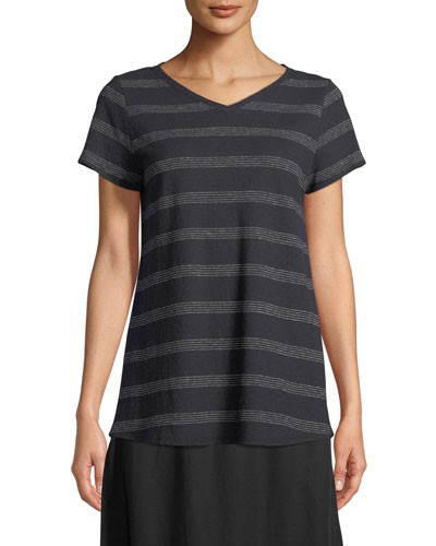 Dot-Striped V-Neck T-Shirt, Petite