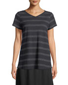 Dot-Striped V-Neck T-Shirt, Plus Size
