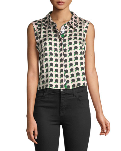 Twill-Collared Pleated Top with Floral-Print