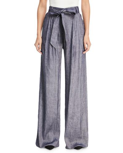 Stretch Self-Tie Trapunto Pants