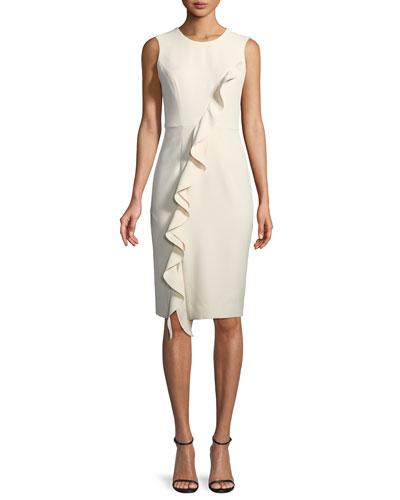 Tilly Asymmetric Italian Cady Ruffle Dress