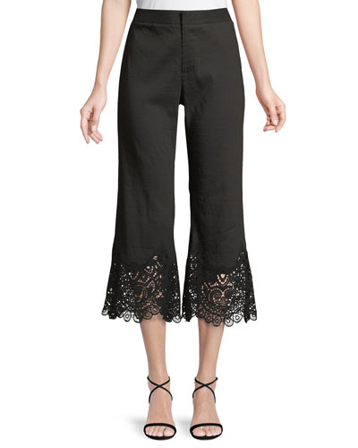 Kelly Lace-Cuff Crop Pants