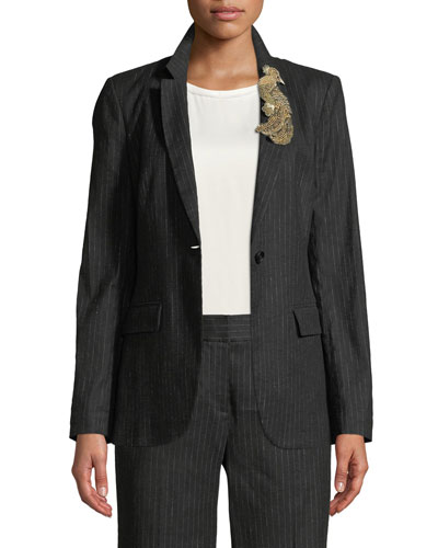 Revi Pinstripe Jacket with Bird Embellishment