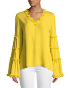 Dahlia Ruffle Silk V-Neck Blouse