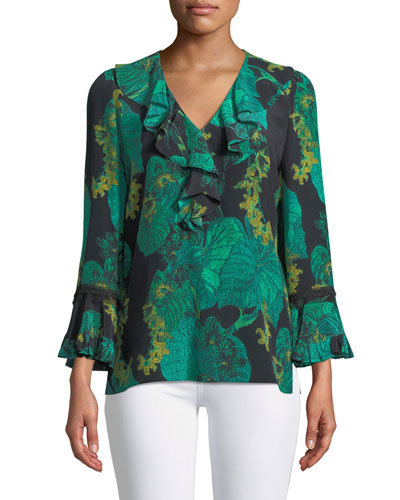Yardi Leaf-Print Ruffle-Trim Blouse