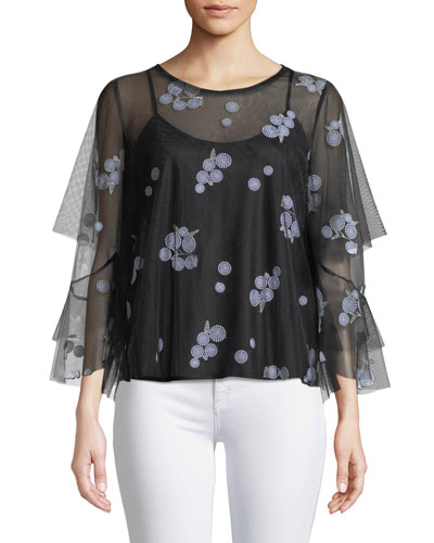 Sully Floral-Embroidered Blouse