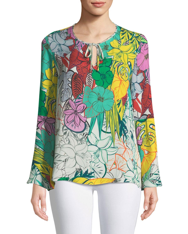 Yesenia Floral Self-Tie Silk Blouse