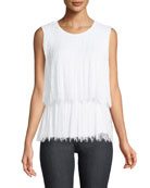 Rumi Pleated Lace Sleeveless Blouse