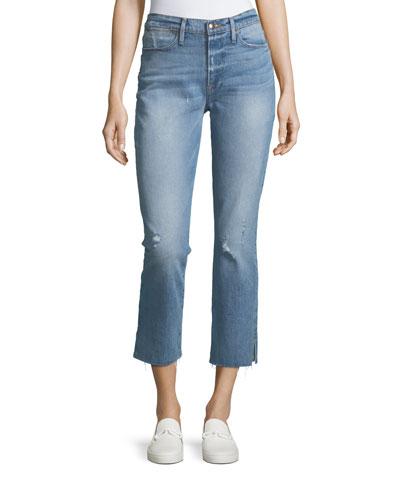 Le High Straight-Leg Raw-Edge Slit Jeans