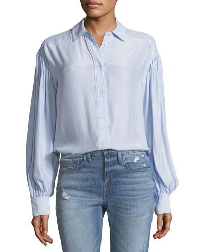 Full-Sleeve Button-Front Silk Shirt