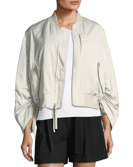 Vince Ruched-Sleeve Parachute Bomber Jacket