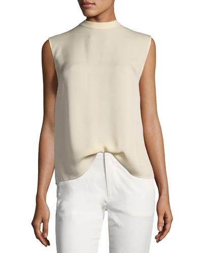 Self-Tie Sleeveless Silk Blouse