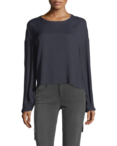Cinched Swing Silk Top with Tie Details