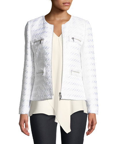Emelyn Zip-Front Tweed Jacket