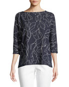 Floral Jacquard Sweater with Chain Detail