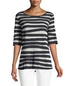 Bicolor Intarsia-Striped T-Shirt