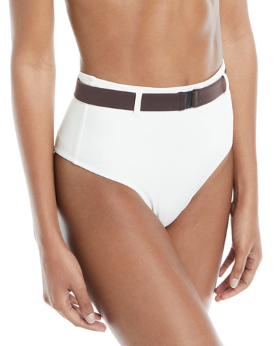 Josephine Belted High-Waist Swim Bottoms