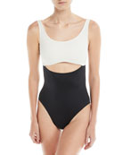 Natasha Peek-A-Boo Colorblocked One-Piece Swimsuit