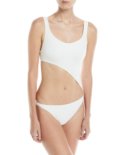 Jourdan Scoop-Neck Cutout One-Piece Swimsuit