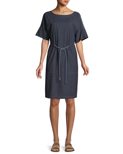 Brandon Stretch-Denim Shift Dress