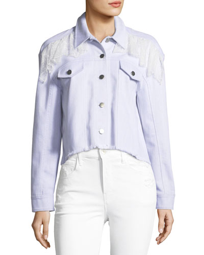 Ismay Button-Front Cropped Denim Jacket with Lace
