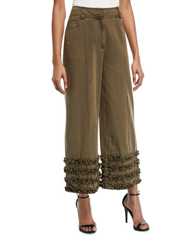 Carmelina Wide-Leg Pants with Ruffled Details