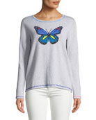 Butterfly Pullover Sweater w/ Contrast Stitching , Plus Size