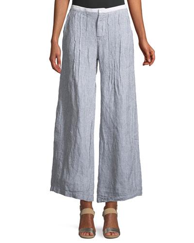 Ebba Pinstriped Linen Pants
