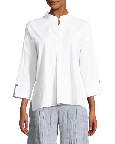 Moa High-Low Poplin Blouse