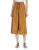 Drawstring Side-Slit Cropped Culotte Pants