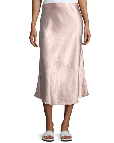 A-Line Satin Slip Midi Skirt