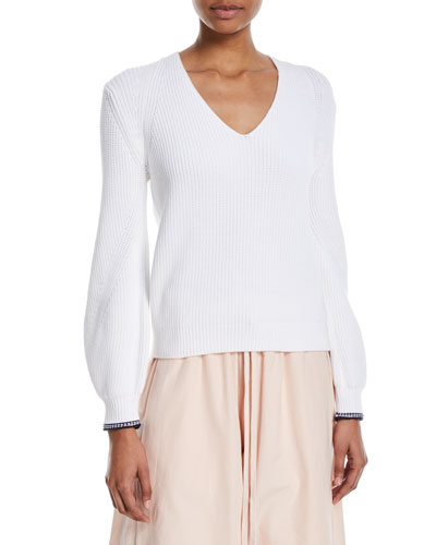 Bishop-Sleeve V-Neck Rib-Knit Sweater