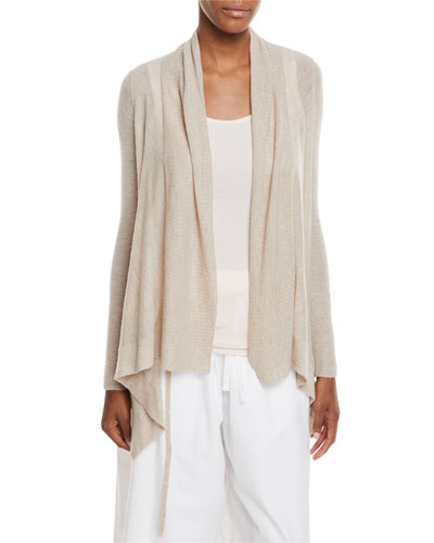 Drape Front Wool-Cashmere Cardigan