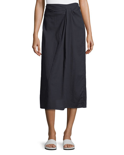 Twist-Front A-Line Cotton Midi Skirt