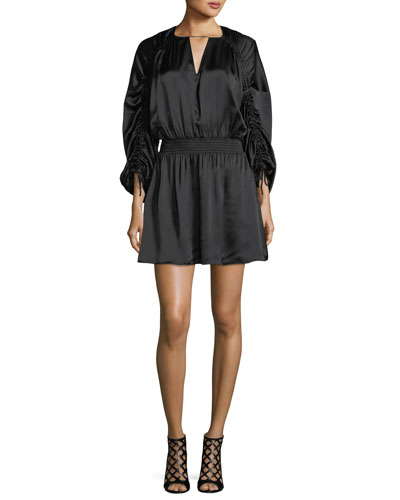 Rissa Drawstring-Sleeve Silk Satin Short Dress