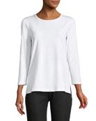 3/4-Sleeve Dropped-Hem T-Shirt