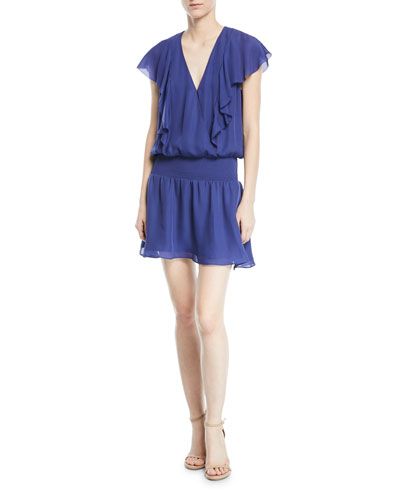 Gabriella V-Neck Cap-Sleeve Silk Mini Dress