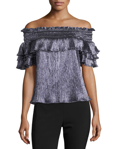Greta Off-the-Shoulder Metallic Blouse