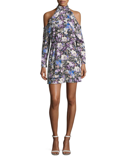 Noemi High Halter-Neck Floral-Print Mini Dress