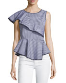 Carly Striped Peplum Top