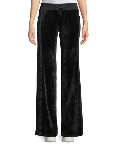 Velour Wide-Leg Drawstring Track Pants