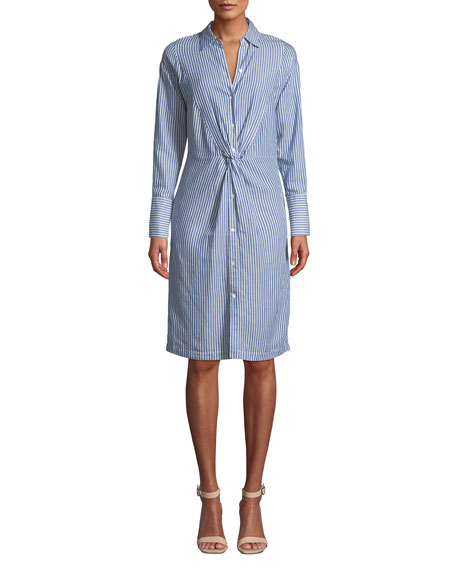 Vince Stripe Shirt Dress w/ Twist Front