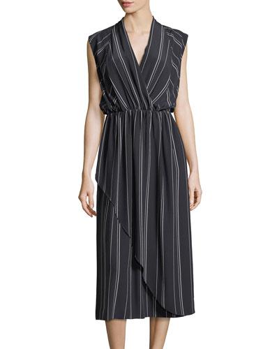 Multi-Stripe Silk Cross-Front Dress