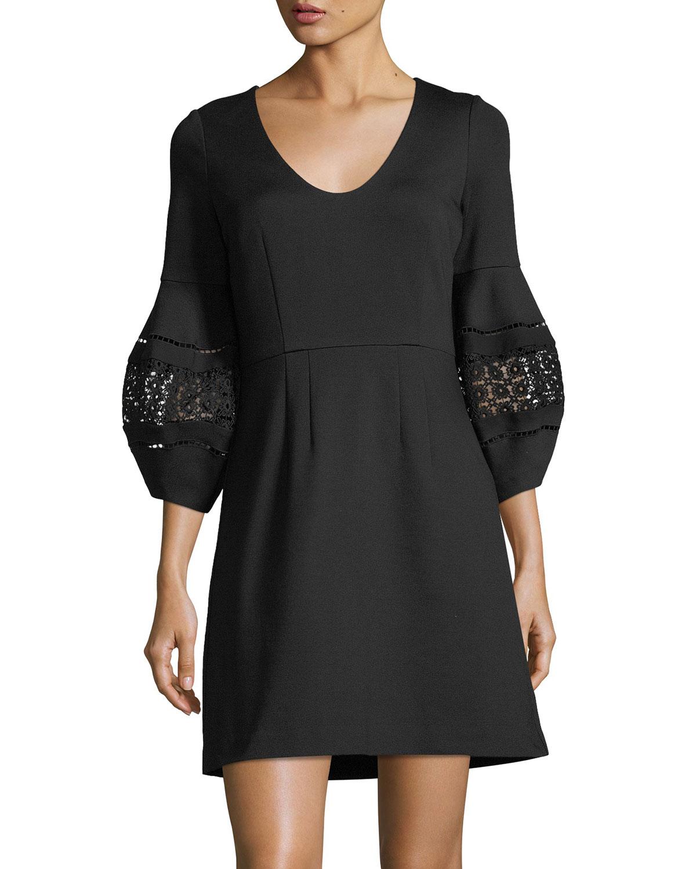 Tropical Ponte Lace-Sleeve Dress