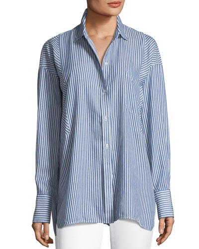 Classic Stripe Long-Sleeve Tunic Shirt