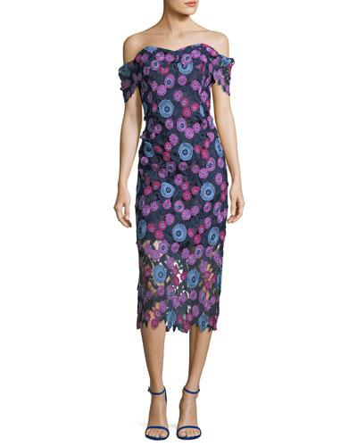 Gracia Multicolor Floral Lace Gown